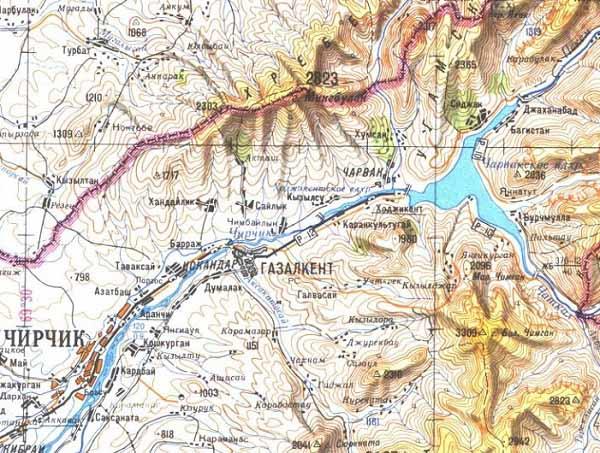Река Чирчик. Топографическая карта.