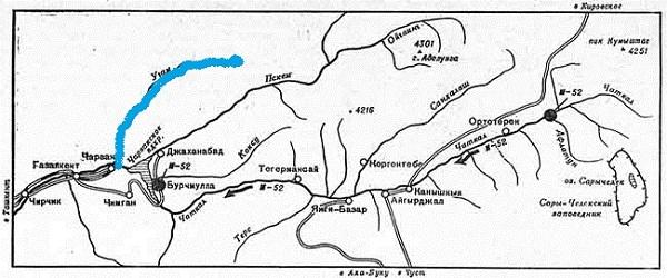 Река Угам. Схема.